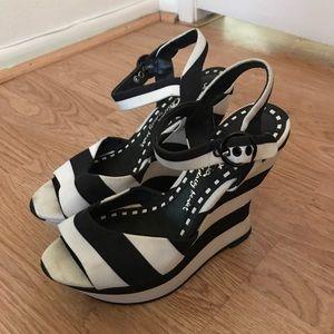 Alice + Olivia Shoes - Alice + Olivia Stripped Wedges